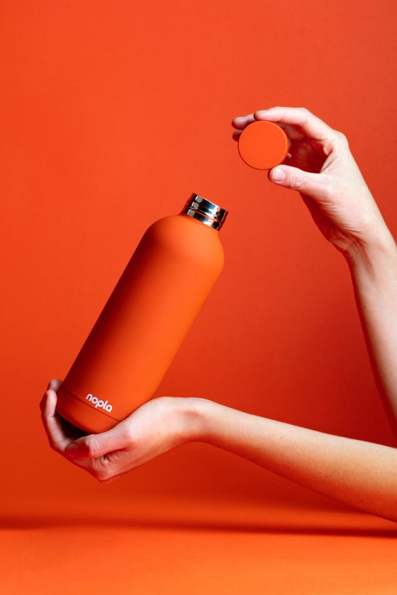 nopla Orange Inox Bottle with Hands