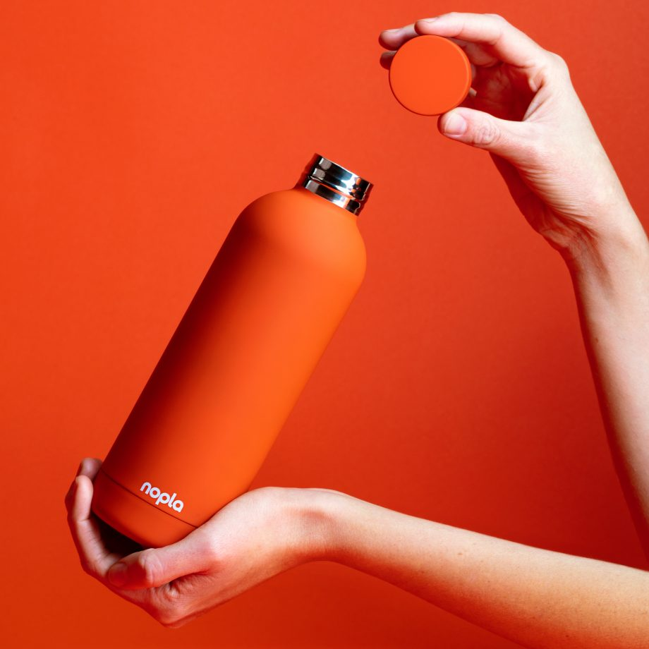nopla Orange Inox Bottle with Hands
